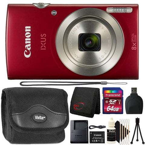 Canon IXUS 185 / ELPH 180 20MP Digital Camera Red with 8GB Accessory Bundle