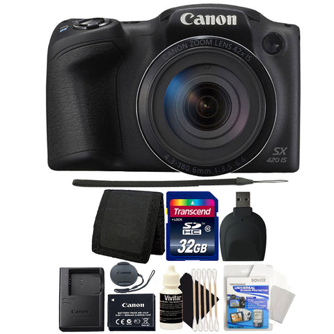 Canon PowerShot SX420 IS 20MP Digital Camera 42x Optical Zoom Black with Accessory Bundle