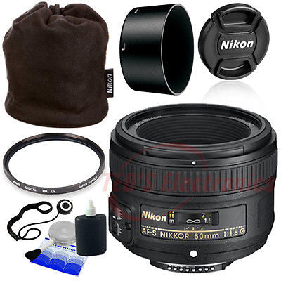 Nikon 50mm f/1.8G AF-S Lens for Nikon Digital SLR Cameras + Pouch and More