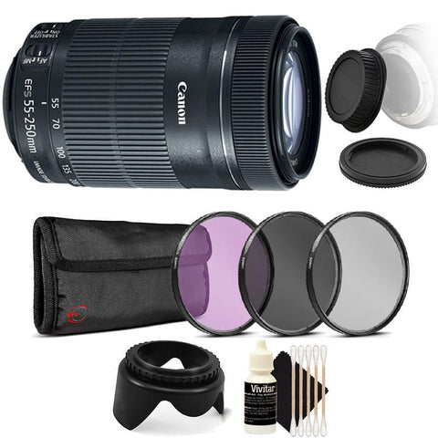 Canon EF-S 55-250mm f/4-5.6 IS STM Lens with Accessory Bundle for Canon 77D , 80D and 1300D