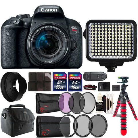 Canon EOS Rebel T7i 24.2MP DSLR Camera with 18-55mm Lens , 120 LED Light and Accessory Kit
