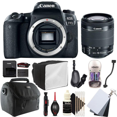 Canon EOS 77D 24.2MP Digital SLR Camera with 18-55mm Lens and Accessory Kit