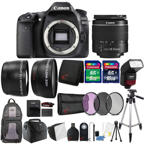Canon EOS 80D DSLR Camera with 18-55mm Lens , TTL Speedlite Flash and Accessory Kit