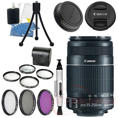 Canon EF-S 55-250mm IS II Lens for Canon Digital SLR DLSR w/ Lens Caps & More