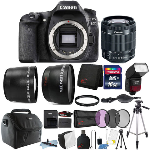 Canon EOS 80D DSLR Camera with 18-55mm Lens , TTL Flash and Accessories