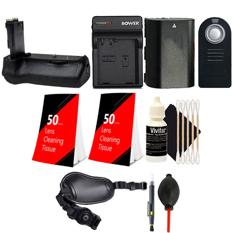 Battery Grip for Canon 70D 80D with LP-E6 Replacement Battery and Accessory Kit