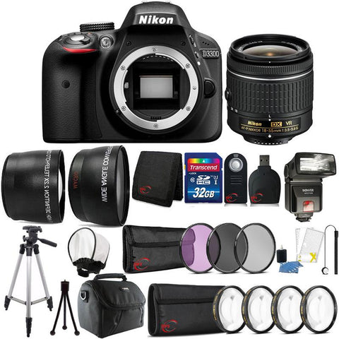Nikon D3400 24MP DSLR Camera with 18-55mm Lens , TTL Flash and 32GB Accessory Bundle
