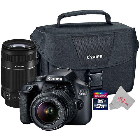 Canon EOS 3000D Rebel T100 18MP Digital SLR Camera + Canon 18-55mm + 55-250 IS II Complete Basic Lens  Kit