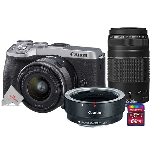 Canon EOS M6 Mark II 32.5MP Mirrorless Digital Camera Silver with 15-45mm Lens + EF 75-300mm III Lens Kit