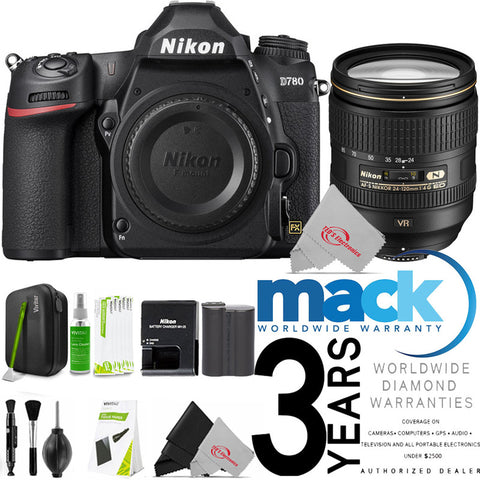 Nikon D780 24.5MP FX-Format DSLR Camera Body + AF-S 24-120mm ED VR Lens + Cleaning Kit