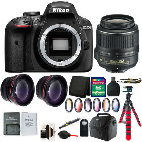 Nikon D3400 24.2MP Digital SLR Camera with 18-55mm Lens and 8GB Accessory Kit