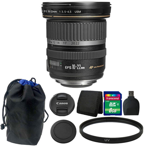 Canon EF-S 10-22mm f/3.5-4.5 USM Lens 8GB Accessory Kit for Canon DSLR Camera
