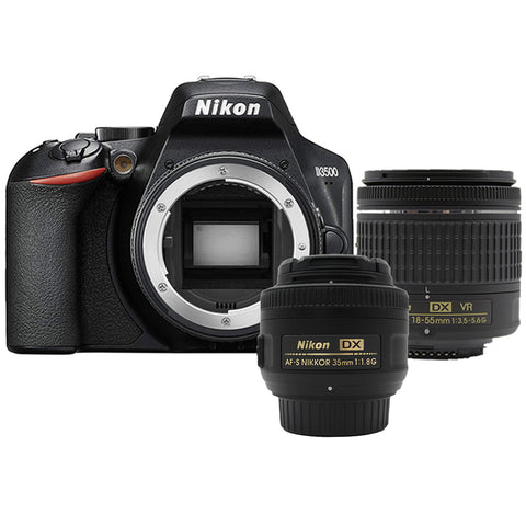Nikon D3500 24.2MP Digital SLR Camera +  Nikon 18-55mm AF-P Lens + 35mm 1.8G Lens