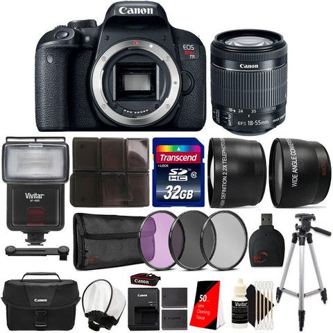 Canon EOS Rebel T7i 24.2MP Built-In WIFI DSLR Camera with 18-55mm Lens , Canon 100ES Case  and Accessories
