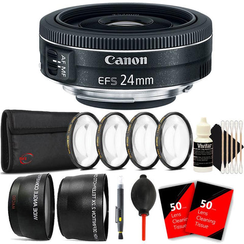 Canon EF-S 24mm f/2.8 STM Lens with Top Accessory Kit for Canon EOS Rebel T5 , T5i , T6 , T6i and T7i