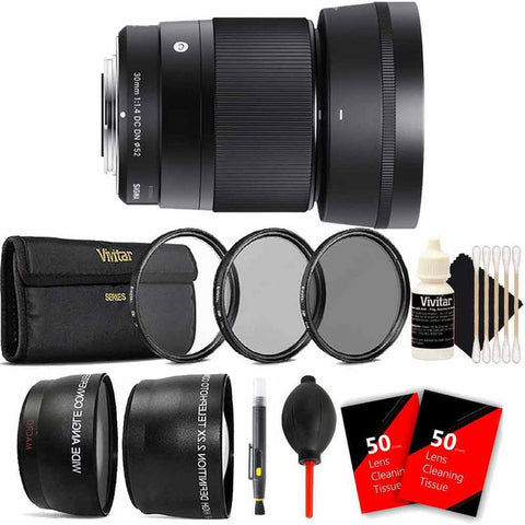 Sigma 30mm f1.4 DC DN Contemporary Lens for Sony E + 2.2x and .43x Converter Lenses + More