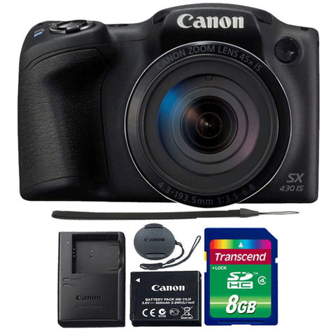 Canon PowerShot SX430 IS 20MP Digital Camera Black with 8GB Memory Card