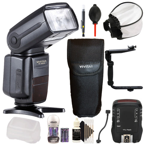 Vivitar DF-864 Flash with Flash Trigger and Accessory Bundle for Nikon D3300, D3400, D5300, D5500 and D5600