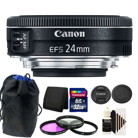 Canon EF-S 24mm f/2.8 STM Lens 32GB Accessory Kit for Canon Digital SLR Camera