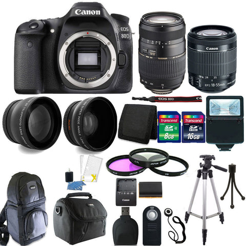 Canon EOS 80D DSLR Camera with 18-55mm Lens , 70-300mm Lens and Accessory Bundle