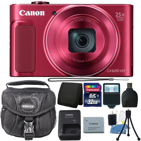 Canon PowerShot SX620 HS 20.2MP Digital Camera Red with Accessories