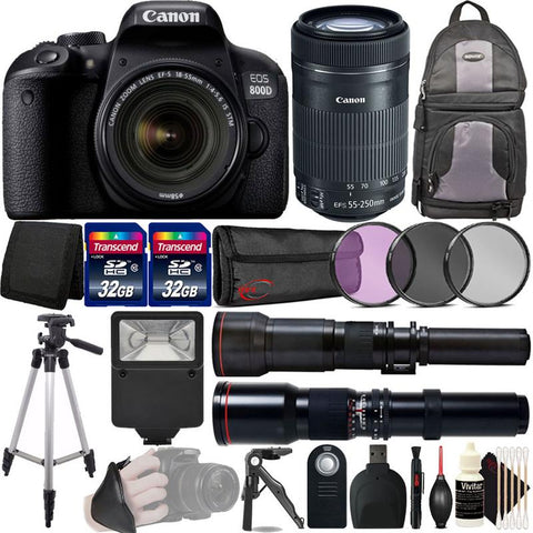 Canon EOS 800D / T7i/ 24 2MP Wi-Fi HD Video 1080p D-SLR Camera with 18-55mm  and 55-250mm Lens Essential Kit