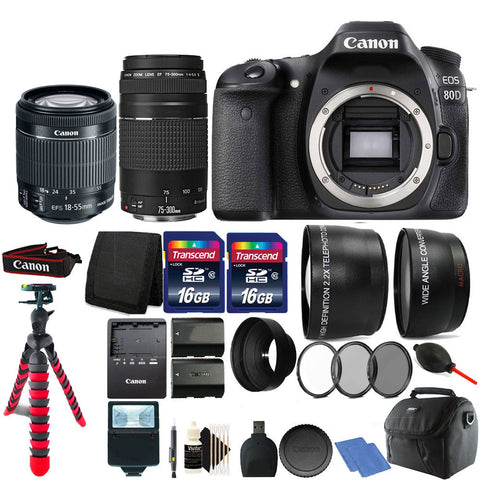 Canon EOS 80D Digital SLR Camera with 18-55mm Lens , 75-300mm Lens and Accessory Kit