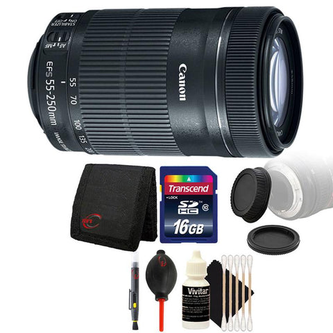 Canon EF-S 55-250mm f/4-5.6 IS STM Lens with Accessories for Canon SLR Cameras