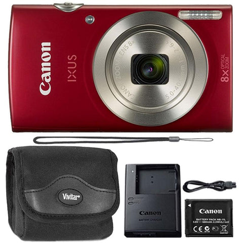 Canon IXUS 185 / ELPH 180 20MP Digital Camera Red with Top Accessory Bundle