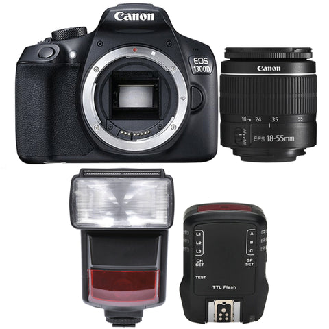 Canon EOS 1300D / Rebel T6 Digtal SLR Camera with 18-55mm Lens , TTL Speedlite Flash and Accessory Kit