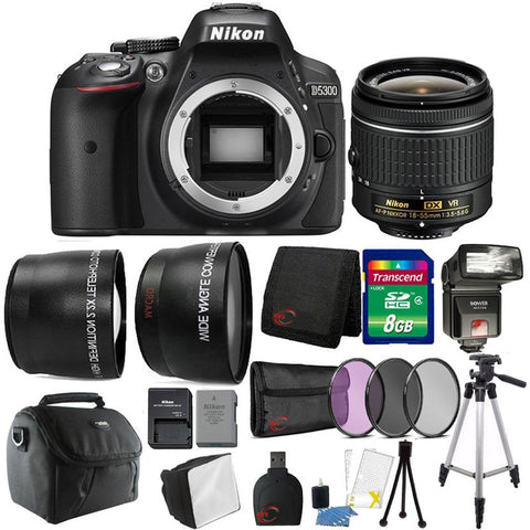 Nikon D5300 24.2MP DSLR Camera with 18-55mm Lens , TTL Flash and 8GB Accessory Kit