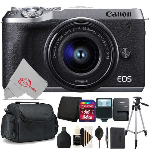 Canon EOS M6 Mark II 32.5MP Mirrorless Digital Camera Silver with 15-45mm Lens + 64GB Accessory Kit