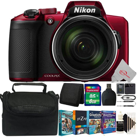 NIKON COOLPIX B600 16MP 60x Optical Zoom  Full HD Video Recording Digital Camera (Red) + Kids Scrapbooking Collection Bundle