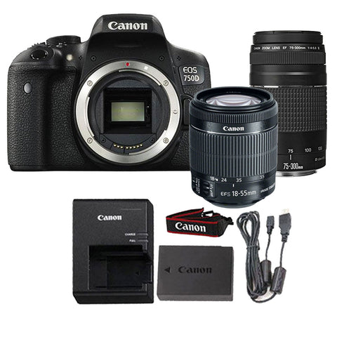 Canon EOS 750D / T6i 24.2MP Digital SLR Camera with 18-55mm IS STM Lens and 75-300mm III Lens