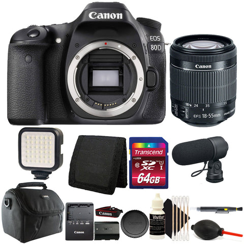 Canon EOS 80D 24.2MP Digital SLR Camera with 18-55mm IS STM Lens and Accessory Bundle