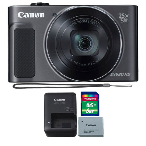 Canon PowerShot SX620 HS 20.2MP Digital Camera (Black) with 8GB Memory Card