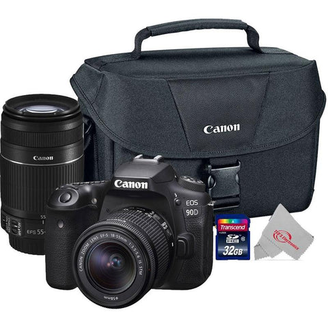 Canon EOS 90D 32.5MP Digital SLR Camera + Canon 18-55mm + 55-250 IS II Complete Basic Lens  Kit
