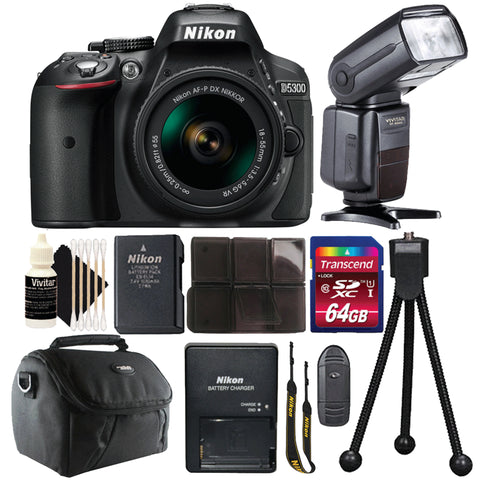 Nikon D5300 DSLR Camera with 18-55mm Lens, Speedlight Flash and 64GB Accessory Kit