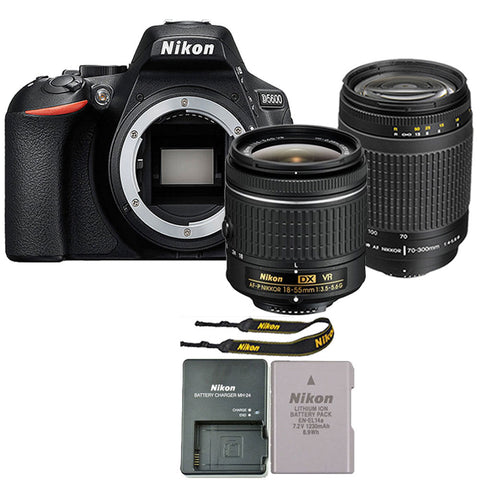 Nikon D5600 24.2MP Digital SLR Camera with 18-55mm f/3.5 - 5.6G VR AF-P DX Nikkor Lens and  Nikon 70-300mm f/4-5.6G AF Zoom-Nikkor Lens