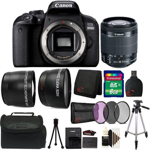 Canon EOS 800D / T7i 24.2MP Digital SLR Camera with 18-55mm IS STM Top Starter Bundle
