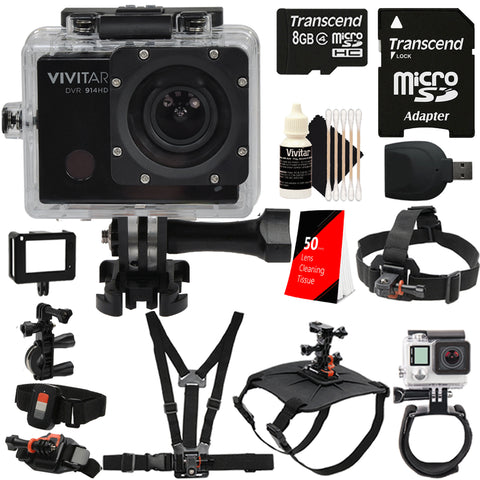 Vivitar DVR914HD 1440p HD Wi-Fi Waterproof Action Video Camera Camcorder with Accessory Kit