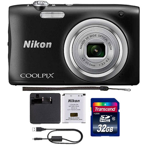 Nikon Coolpix A100 20.1MP Digital Camera 5x Optical Zoom Black with 32GB Accessory Kit