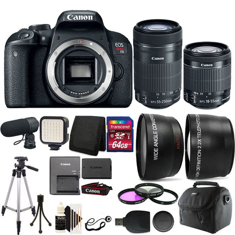Canon EOS Rebel T7i 24.2MP DSLR Camera with 18-55mm IS STM Lens , 55-250mm IS STM Lens and Accessory Kit