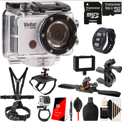 Vivitar DVR794HD 1080p HD Wi-Fi Waterproof Action Camcorder Silver with Accessory Bundle