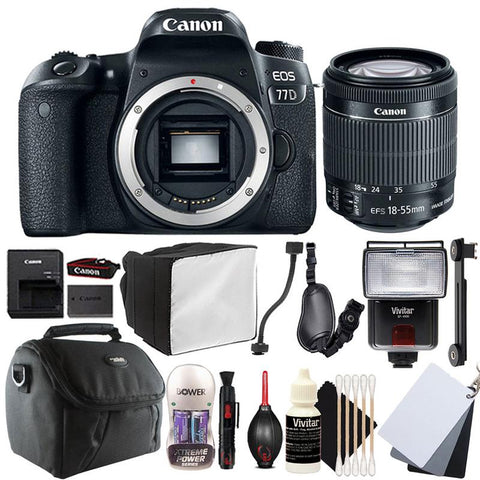 Canon EOS 77D 24.2MP DSLR Camera with 18-55mm IS STM Lens , Slave Flash and Accessory Bundle