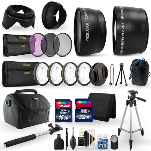 52mm Close Up Macro Filters , Telephoto Lens , Wide Angle Lens and Accessory Bundle for Nikon D5300, D5500 and D5600