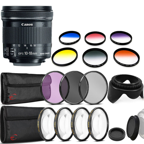 Canon EF-S 10-18mm f/4.5-5.6 IS STM Lens and Accessories For Canon DSLR Cameras