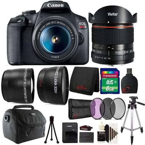 Canon EOS Rebel T7 DSLR Camera + 18-55mm + Vivitar 8mm Lens + 58mm 3pc Filter Kit + Wide Angle & Telephoto Lens + T-Mount + 8GB Memory Card + Gadget Bag + Lens Cap Holder + Slave Flash + Card Reader + Wallet + Cleaning Kit + Large & Small Tripod