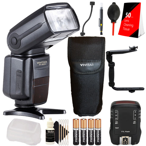 Vivitar DF-864 Flash with Flash Trigger and Deluxe Accessory Kit for Nikon D5300, D5500 and D5600