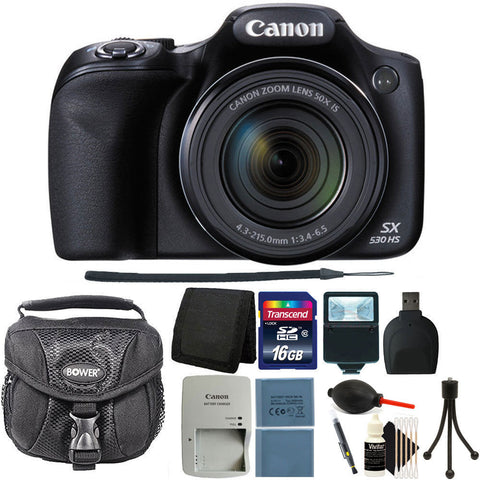 Canon PowerShot SX530 HS 16MP Digital Camera Black + 16GB Deluxe Accessory Kit